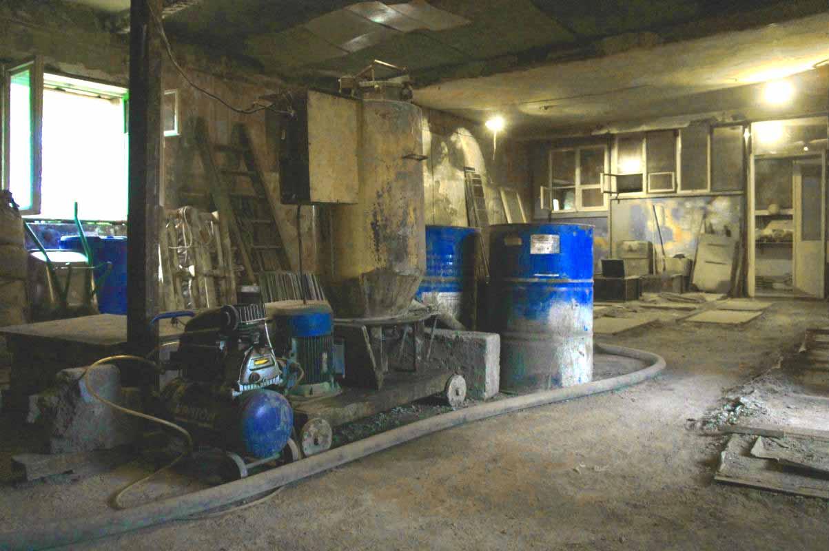 В цехе по производству пеноблока